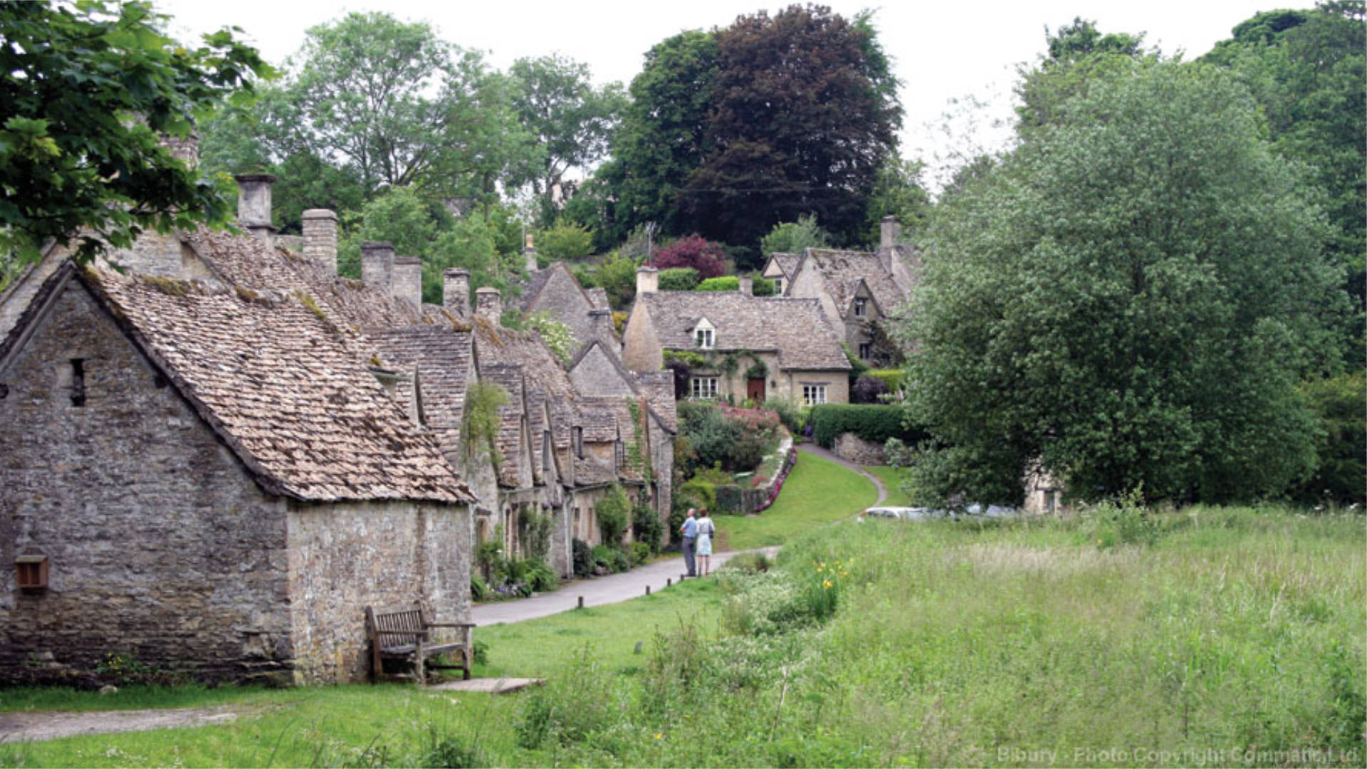 Photo of the Cotswold village of Bibury, a short drive from Cirencester